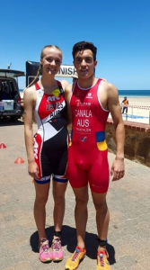ATC athlete Dan and me before the Aquathlon race.